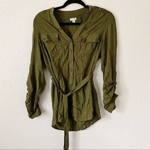 Odille Olive Green Braided Back Top